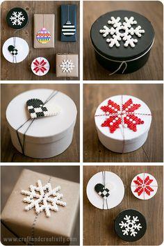Perler bead Christmas tags - by Craft & Creativity