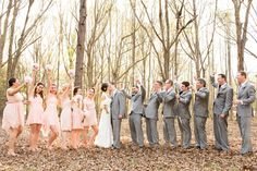 southern wedding soft blush pink bridesmaid dresses grey groomsmen suits bridal party