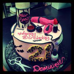 cosmotology cake, cakess, grad cake