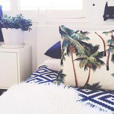 Palm pillow palm, beaches, pillow, cobalt blue, beach houses, beach house decor, cushion, apart, bedroom
