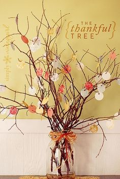 40 Amazing Thanksgiving Diy Decorations   Have the circles ready for everyone to write down what they are thankful for and then attach to the branches. Great to share what was written at the end of the long day.