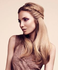 If you did this and then had her work the headband into your hair...it might look kinda cool!!  A long blonde straight coloured plaited hairstyle by Headmasters