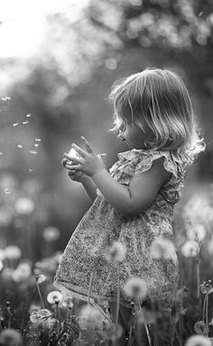 Cute girl #Dandelions #Outdoor pic #black and white #Photography #Picture #kids #baby girl