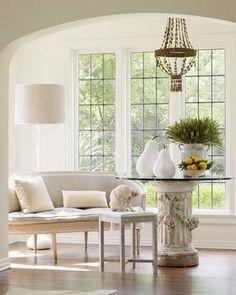 settee and steel windows
