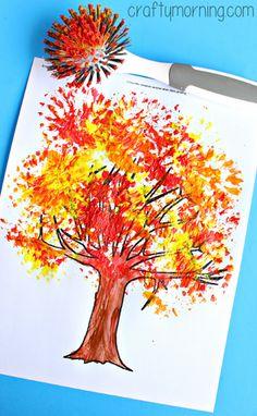 Fall Tree Craft Using a Dish Brush #Fall craft for kids   CraftyMorning.com