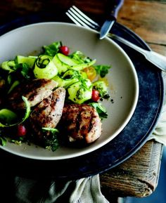 Curtis Stone's recipe for grilled chicken with arugula and zucchini