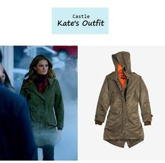 "On the blog - Kate Beckett's (Stana Katic) olive parka | ""In the Belly of the Beast"" (Ep. 617) #tvstyle #tvfashion #outfits #fashion"
