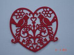 2 Love Bird Heart Die Cuts for scrapbooking by pinkdesertbluebird, $2.00