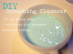 DIY Scrubbing Cleanser- Using only baking soda, vinegar and dish detergent ! You can make your own scrubbing cleanser ! And eliminate yet another costly cleaning product from your home AND get awesome results !