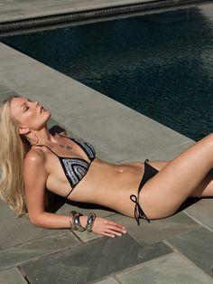Crochet sequined Beach Goddess bikini in Rebel Stripe and lycra bikini bottom by Anna Kosturova