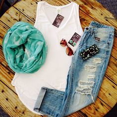 boyfriend jeans, torn jeans outfit, breezy summer outfits, white tank top and jeans, top and scarf outfits, simple summer clothes, white tank and jeans, cute easy summer outfits, outfits summer casual