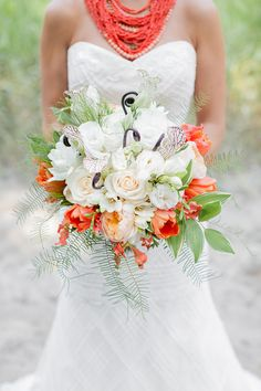 bridal tropical bouquet, photo by Brooke Michaelson http://ruffledblog.com/out-of-africa-inspiration-shoot #flowers #weddingbouquet