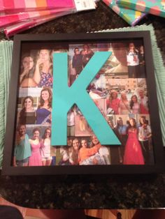 Great idea for a present or dorm decorations! Just take a shadow box, and then make a collage of all your favorite photos, then glue the first letter of their name in it! #dorm #decoration #diy #pictures letter, diy picture collage ideas, diy shadow box ideas, collage dorm ideas, college shadow box ideas, collage dorm diy, graduation shadow box ideas, picture collage for dorm