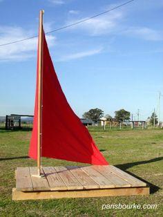dramatic play, sailboats, ship, sail boats, outdoor play, backyard, garden, old pallets, kid