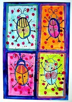 Tiffany603's art on Artsonia Four Fancy Beetles, Watercolor and pastel