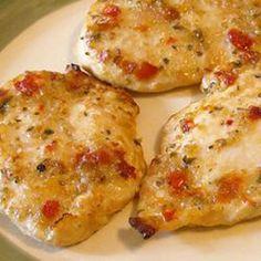 Easy Italian Chicken- I added a slice of mozzerella the last 10 minutes.  It was yummy!