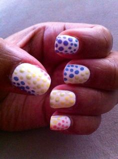 angled multi color dots