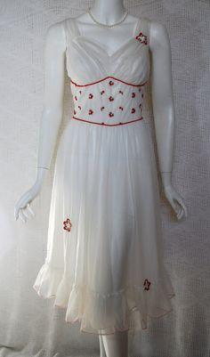 1950s White  Red Peignoir Set Nightgown Robe
