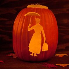 Mary Poppins Pumpkin Template