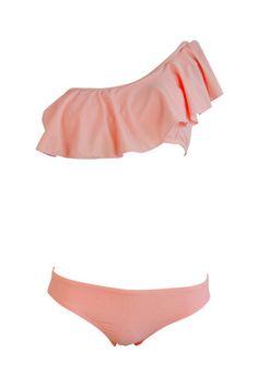 Single Shoulder Falbala Swim Suit.