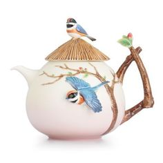 Franz Porcelain Black-Throated Passerine Bird Design Sculptured Porcelain Teapot FZ02745