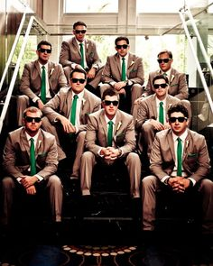 grey suits, color combos, tie, sunglass, groomsmen shot, kelly green, shade, tan, parti