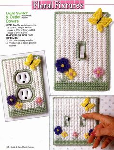 Light switch covers, plastic canvas