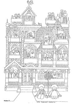 This adorable family tree coloring page would make a cute heritage layout for a child's album. Use as is or have some fun coloring with markers and add actual family photos in the windows!