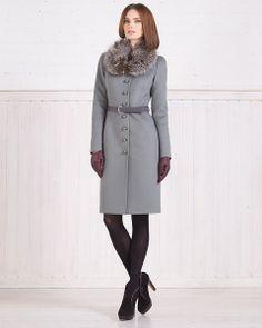 Зимнее пальто из шерсти со съемной