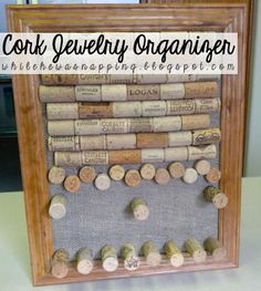 While He Was Napping: Cork Board Jewelry Organizer