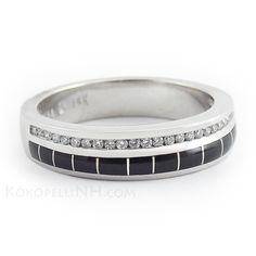 """Dark Star - River"" Men's Diamond and Onyx Wedding Band"