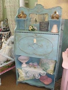 Vintage Oak Secretary Desk With Blue Paint. Perfect for a guest bedroom.