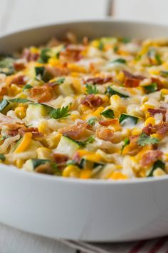 Creamy Corn and Zucchini made with tons of Kraft Shredded Cheese with a Touch of Philadelphia.