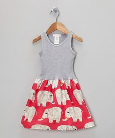 Take a look at this Gray  Pink Elephant Parade Tank Dress - Infant, Toddler  Girls by Alejandra Kearl Designs on #zulily today!