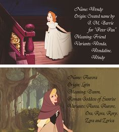 Wendy and Aurora's names.