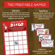 Dr. Seuss Baby Shower  Games - Printable Bingo Cards and Raffle Tickets