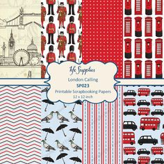 London Calling  Printable Scrapbooking Papers  by hfcSupplies, £3.20