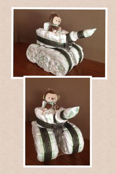 Tank diaper cake for military/camouflage themed baby shower.
