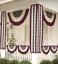 Cotton Duck Fabric Patriotic Vintage Bunting with Embroidery