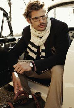Preppy men styles, menfashion, glasses, preppy, men fashion, scarves, stripes, briefcases, style fashion