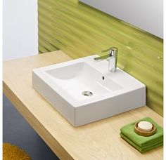 """View the Bissonnet 03030 Universal Wave 19-7/10"""" Bathroom Sink Wall Mount with Overflow and Single Faucet Hole at Build.com."""