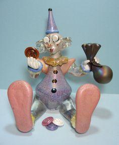 """ButtonArtMuseum.com - Stuart Abelman Art Glass Clown """"Button Collector"""" 1998 Limited Edition 14 100"""