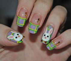 Plaid Easter Bunny Nail Art