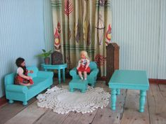 Strombecker Wooden  Dollhouse Living Room Furniture  by TheToyBox