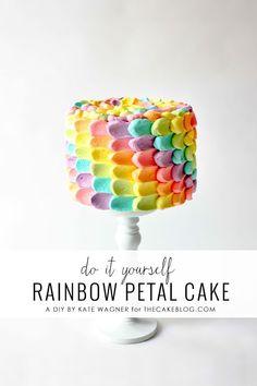 diy rainbow, rainbow party cake, rainbow petal cake, desserts and rainbow desserts, birthday idea, rainbows, recip, parti, cupcakes diy