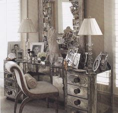 vintage mirror dresser....a little overboard on the pics...this quite possibly could be me in a few years :/