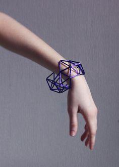 Geometric bracelet in cosmic purple by mariaHandmade on Etsy, $30.00
