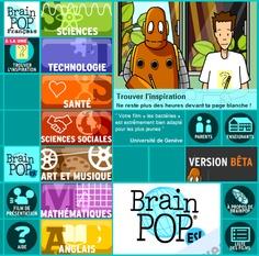 Des centaines de films d'animation courts créés par Brain Pop destinés au public scolaire et conformes au programmes de l'éducation nationale. Les films de 3 à 6 minutes sont répartis en 7 catégories : sciences, technologies, sciences sociales, santé, art & musique, mathématiques, anglais. Une page dédiée aux enseignants et une pour les parents