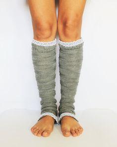 gray knit leg warmers/knit, lace leg warmers
