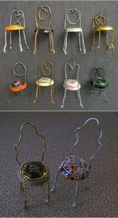 #Mini cadeira feita com tampa de espumante. Um enfeite criativo, e você ainda pode ter uma coleção delas! #criatividade #facavocemesmo #DIY